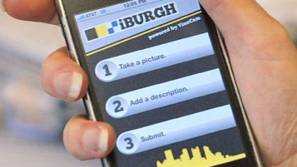 iPhone showing the new iBurgh Pittsburgh app.