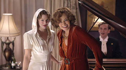 "Drew Barrymore, left, and Jessica Lange portray Little Edie and Big Edie in HBO's new version of ""Grey Gardens."""