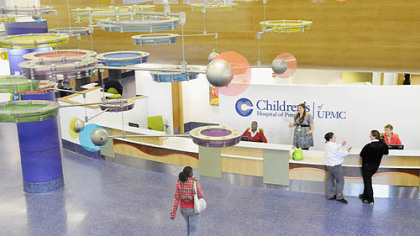 "The main lobby of the new Children's Hospital in Lawrenceville -- ""A lot of the time a hospital has to develop character,"" said Christopher Gessner, the hospital's president. ""This one already has it and we haven't even seen our first patient here."""