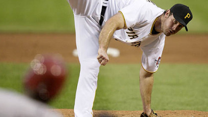 Pirates pitcher Ross Ohlendorf pitches in the sixth inning of tonight's  4-3 loss to the Diamondbacks at PNC Park.