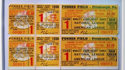Tickets for a World Series never played in 1938 at the exhibit commemorating the 100th anniversary of Forbes Field at the Western Pennsylvania Sports Museum at the Sen. H. John Heinz History Center. The Pirates lost the National League title at the very end of the season.