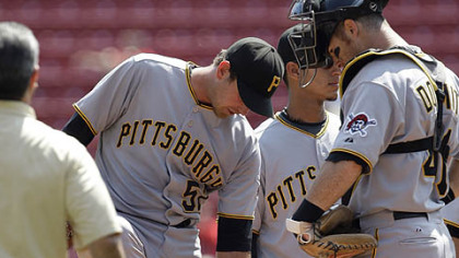 Pirates pitcher Zach Duke shows catcher Ryan Doumit  where he was hit by a ground ball on the ankle during yesterday&#039;s game.