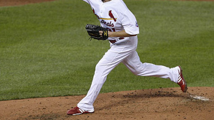 Ryan Franklin of the Cardinals pitches during the third inning.