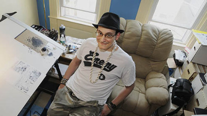 Ed Piskor, 26, cartoonist, in his Southside home and workspace.  His graphic novels, &quot;Wizzywig: Volume 1: Phreak&quot; and Wizzywib: Volume 2: Hacker,&quot; were featured in Wired magazine.
