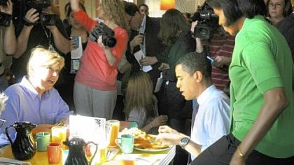 Then-Sen. Barack Obama and his wife, Michelle, shared a breakfast of pancakes at Pamela's Diner in the Strip District in April with co-owner Gail Klingensmith, left.