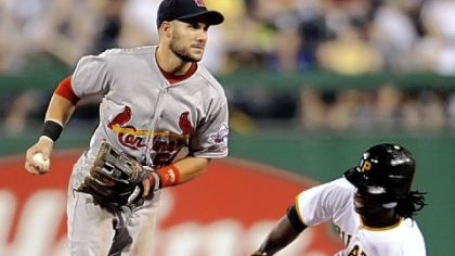St. Louis second baseman Skip Schumaker forces Andrew McCutchen out at second on a fielder&#039;s choice in the bottom of the sixth inning last night at PNC Park.