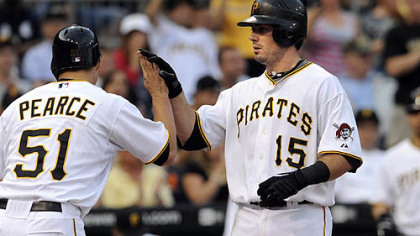Pirates third baseman Andy LaRoche is congratulated by teammate Steve Pearce after hitting a two-run home run in the second inning.