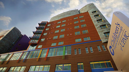 A view of the front of the new Children's Hospital in Lawrenceville.