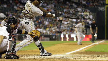 Pirates outfielder Andrew McCutchen hits an RBI-single to score teammate Ramon Vazquez during the seventh inning of last night&#039;s game.
