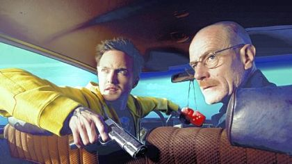 "Jesse Pinkman (Aaron Paul) and Walter White (Bryan Cranston) in ""Breaking Bad."""