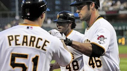 Garrett Jones (46) celebrates with teammates Steve Pearce and Delwyn Young after hitting a home run in the third inning last night against the Brewers at PNC Park.