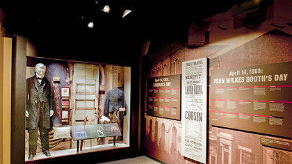 Exhibits showcasing the suit Lincoln wore the night of his assassination, the door leading to the famed theatre box and other relics from Ford's Theatre.
