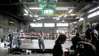 "Production of the film ""Warrior"" has turned this room in the Gage Building in the Strip District into a gym. In the film, Nick Nolte plays a retired steelworker and one-time boxer who trains his son, played by Tom Hardy, to compete in a mixed martial arts tournament."