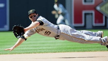 Pirates third baseman Andy LaRoche dives for a ball hit by the Phillies' Pedro Feliz in the eighth inning yesterday. LaRoche made the catch for the third out.