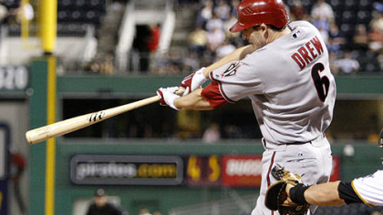 Diamondbacks shortstop Stephen Drew strokes a single off Pirates pitcher Jeff Karstens in the eighth inning, driving in two runs.