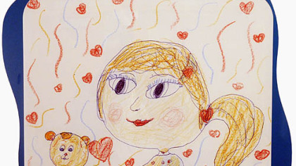 "One of the 88 pieces of hospital art drawn by children who participated in an Eat 'n Park contest a year ago to depict ""What Makes Me Smile."""