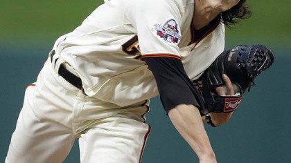 Tim Lincecum of the Giants pitches during the first inning.