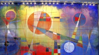 "This Virgil Cantini enamel-on-steel mural ""Aerial Scape"" may be removed from the lobby of One Oliver Plaza."
