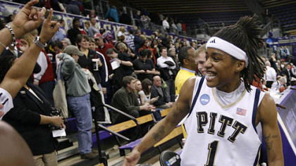 Pitt's Shavonte Zellous celebrates after the 65-60 win over Gonzaga in their second-round women's NCAA college basketball tournament game on Monday night.