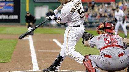Ramon Vazquez hits a two-run single in the Pirates' four-run first inning last night.