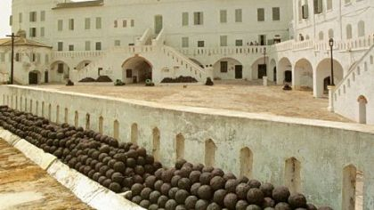 A view of a slave fortress in Cape Coast, Ghana in 1996. Hundreds of thousands of Africans were forced through its dungeons and loaded onto slave ships anchored along the Atlantic coastline. Barack Obama and his family will follow in the footsteps of countless African-Americans who have tried to reconnect with their past on these shores.