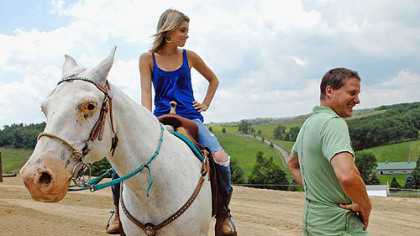 Dave Palone isn't the only horseman in the family. Daughter Hannah, 14, is up on Blue, her barrel racing horse. The family just built a horse ring on their Chartiers Township farm in Washington County.