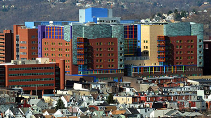 A view of the new Children's Hospital in Lawrenceville from a Hill District overlook.