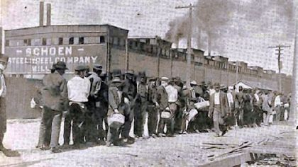 Hungry men who waged a strike at the Pressed Steel Car Co. in McKees Rocks line up to receive food for their starving families. The Pittsburgh Leader, a local newspaper, solicited donations for the strikers from the public, and a committee distributed the food.