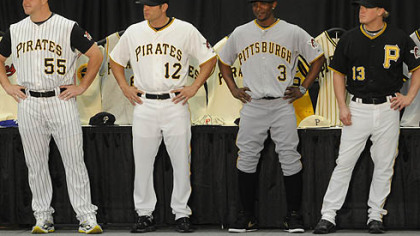 The Pirates unveiled their lineup of jerseys for the 2009 season. In includes a new black alternate jersey, far right, as well as the addition of sleeves to the team's home white and road gray jerseys. Modeling were, from left, pitcher Matt Capps, second baseman Freddy Sanchez and outfielders Nyjer Morgan and Nate McLouth.