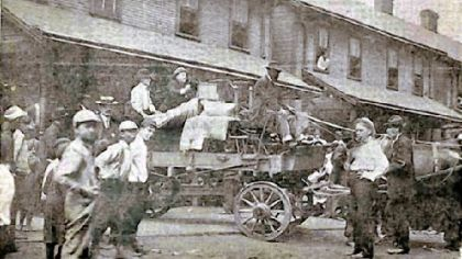 Employees who waged a strike at the Pressed Steel Car Co. in the summer of 1909 were evicted from company-owned housing in the company town of Presston on Aug. 21, 1909.   Deputy Sheriff Harry Exley places a baby buggy on top of the wagon's load.  The next evening strikers clashed with state police on Bloody Sunday.  Strikers pulled Sheriff Exley from a streetcar and killed him.