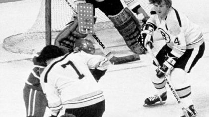 Boston legend Bobby Orr (No. 4) was important to Bruins goalie Eddie Johnston both on and off the ice.