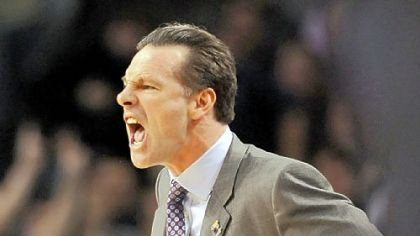Jamie Dixon barks instructions in the first half last night in Boston. Pitt&#039;s Final Four drought goes on for at least another year.
