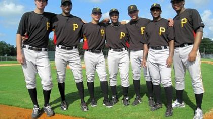 Seven Pirates prospects representing five continents, left to right: Pitcher Mitch Fienemann of Australia, pitcher Rinku Singh of India, shortstop Benji Gonzalez of Puerto Rico, second baseman Gift Ngoepe of South Africa, infielder Elevys Gonzalez of Venezuela, pitcher Dinesh Patel of India and first baseman Gerlis Rodriguez of the Dominican Republic.