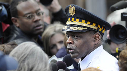 Pittsburgh Police Chief Nate Harper speaks to reporters following a deadly stand-off in the 1000 block of Fairfield Street in Stanton Heights, today.
