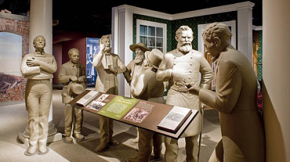 Figures representing job seekers and visitors to the Lincoln White House, modeled after political cartoons from the 1860s.
