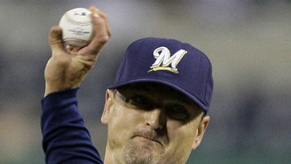Brewers closer Trevor Hoffman throws in the ninth inning. Hoffman earned his 22nd save of the season.