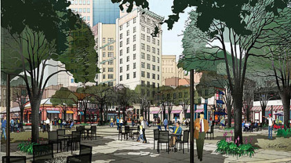 This sketch shows how Market Square might look under a $5 million plan unveiled Tuesday by Pittsburgh Mayor Luke Ravenstahl and the Pittsburgh Downtown Partnership.