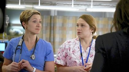"Edie Falco as Jackie O'Hurley and Merritt Wever as Zoey in ""Nurse Jackie."""