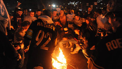 Pittsburghers take to the streets of Oakland after the Steelers' Super Bowl victory over the Arizona Cardinals.