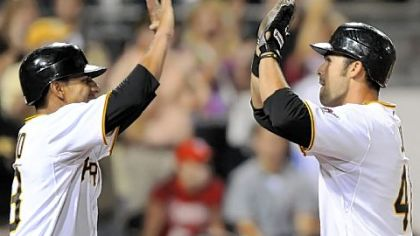 Garrett Jones (right) celebrates with Ronny Cedeno, who scored on Jones' 15th home run of the season in the bottom of the eighth inning last night against Philadelphia.