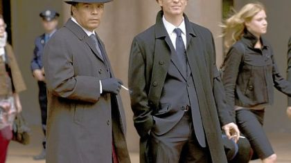 "Esai Morales, left, is Joseph Adams and Eric Stoltz is Daniel Graystone in the Sci Fi Channel's ""Caprica."""