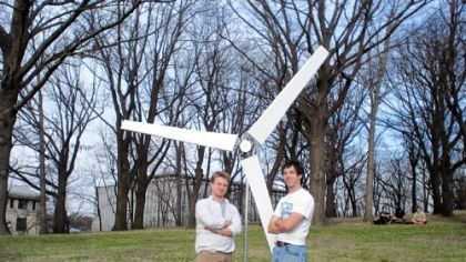 Micah Toll, right, a junior at the University of Pittsburgh, and Shaun Espenshade, a junior at Duquesne University, friends from Lebanon, Lebanon County, with their inexpensive wind turbine.