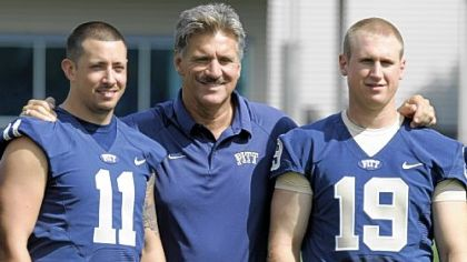 Will Dave Wannstedt give Pat Bostick (#19) a fair shake? Pitt head coach Wannstedt is photographed along side quarterbacks Stull and Bostick during the team's 2009 media day Monday.