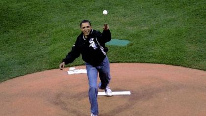 President Barack Obama throws out the first pitch.