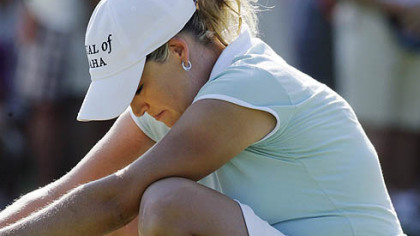 Cristie Kerr reacts after missing a birdie putt on the 15th green during the final round of the U.S. Women's Open golf tournament Sunday.