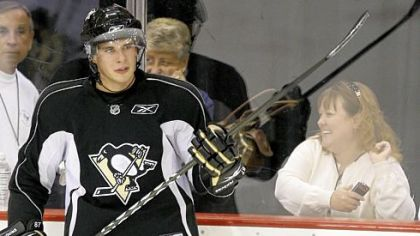 "Penguins captain Sidney Crosby on switching sticks, ""It's something that takes time -- going from wood to one-piece -- but I'm giving it a chance, and we'll see what happens."""