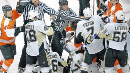 The second-period fight yesterday in Philadelphia: The turning point in the game?