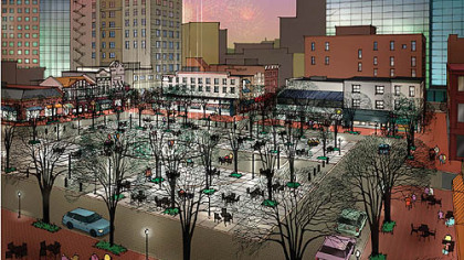 This drawing shows a night view of Market Square reconfigured to be more pedestrian-friendly.