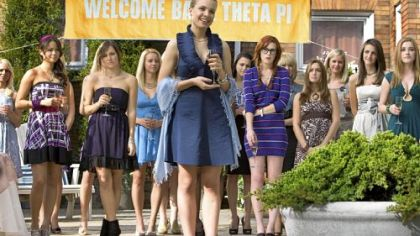 "Lining up in ""Sorority Row"" are, from left, Jamie Chung, Briana Evigan, Leah Pipes (front center) and Rumer Willis (in striped dress)."