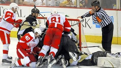 The Red Wings swarmed Marc-Andre Fleury late, including this pileup in the crease, but they could not score the tying goal.